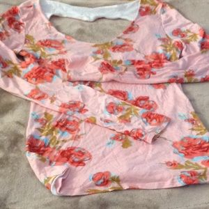 Kirra back cut out pink floral tee. Reduced!